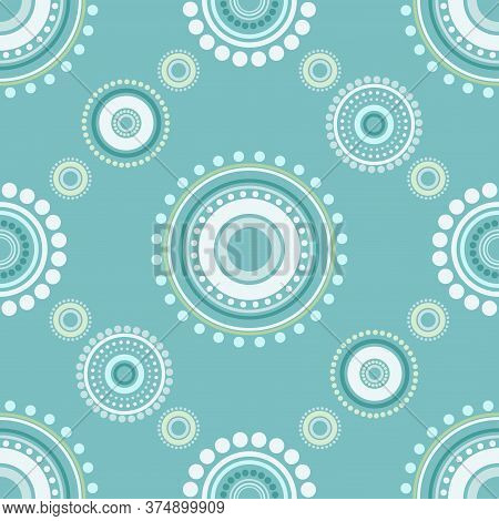 Seamless Abstract Pattern Of Circles And Dots Of Green And Turquoise Colors. Kaleidoscope Background
