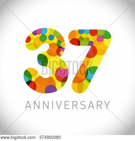 37 Th Anniversary Numbers. 37 Years Old Multicolored Congrats. Cute Congratulation Concept. Isolated
