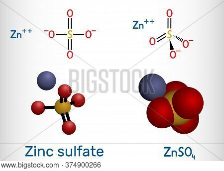 Zinc Sulfate, Znso4, White Vitriol Molecule. It Is Used As Dietary Supplement, As A Fertilizer Ingre
