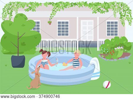 Children In Pool Flat Color Vector Illustration. Girl And Boy In Inflatable Tub On Backyard. Child S