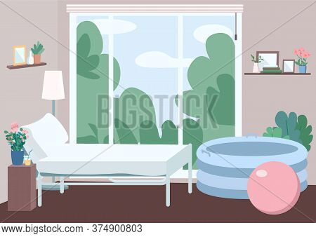 Room For Home Childbirth Flat Color Vector Illustration. Bed For Mother. Apartment In Family Center.