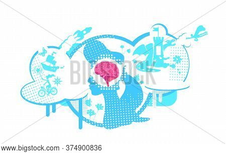 Visual Development Of Thinking Flat Concept Vector Illustration. Creative Imagination, Visualization
