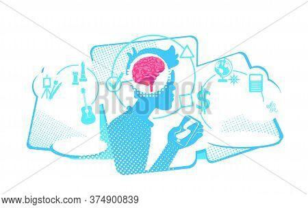 Human Multitasking Flat Concept Vector Illustration. Addiction Of Smart Mobile Technologies. 2d Cart