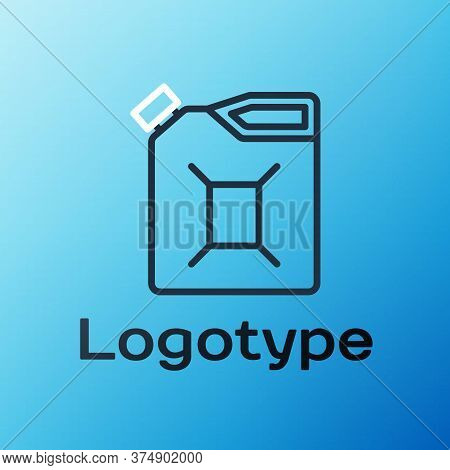 Line Canister For Gasoline Icon Isolated On Blue Background. Diesel Gas Icon. Colorful Outline Conce