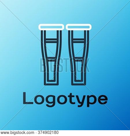 Line Crutch Or Crutches Icon Isolated On Blue Background. Equipment For Rehabilitation Of People Wit