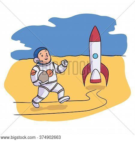 Smiling Boy Kid Astronaut Running To Rocket Shuttle. Cartoon Cosmonaut Wearing Costume Holding Helme