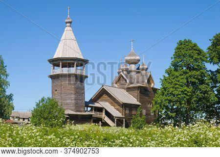 View Of The Ancient Church Of Dmitry Solunsky Myrrh-streaming On A Sunny June Day. Village Shcheljek
