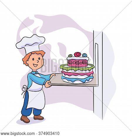 Little Boy Cook Hold With Big Tasty Glazed Cake With Festive Decoration. Child Wearing White Master