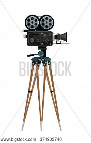 Camera On Tripod Vector Illustration. Black Old Fashioned Videocamera Isolated Clipart On White Back