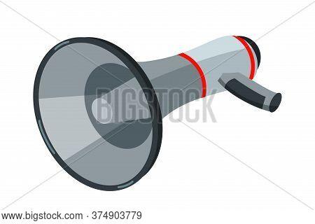 Loudspeaker Isometric Vector Illustration. Gray Bullhorn Isolated On White Background. Megaphone, So