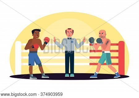 Two Afro-american And Caucasian Men Engage In Boxing Fight And Referee Judge. Cartoon Sportive Peopl