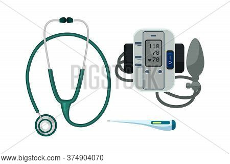 Stethoscope, Electronic Thermometer And Blood Pressure Meter With Cuff And Rubber Bag Set. Supplies