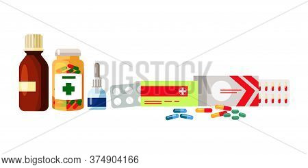 Pharmaceutical Syrup, Tablets, Drops For Treatment. Glass And Plastic Bottles, Pills And Tablets Set