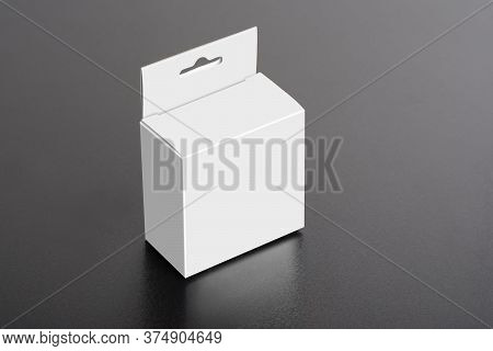 White Box With Hanger On Dark Ground, Editable Mock-up Series Template Ready For Your Design, Select