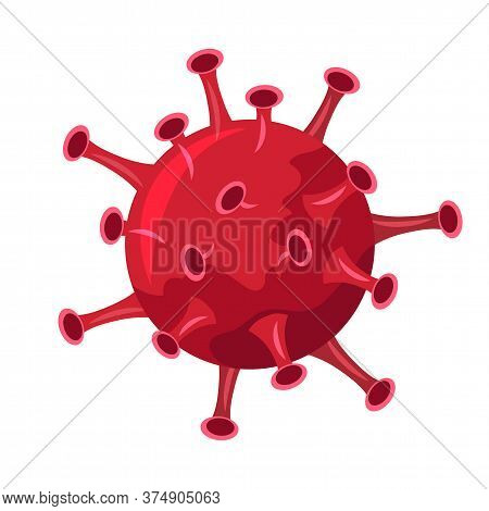 Flat Red Round Dangerous Bacteria With Sucker Or Outgrowth Isolated On White. Cartoon Allergen, Cell