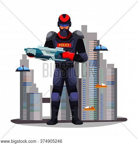 Police Guard Man With Innovative Weapon In Futuristic City. Military Male Character Holding Blaster