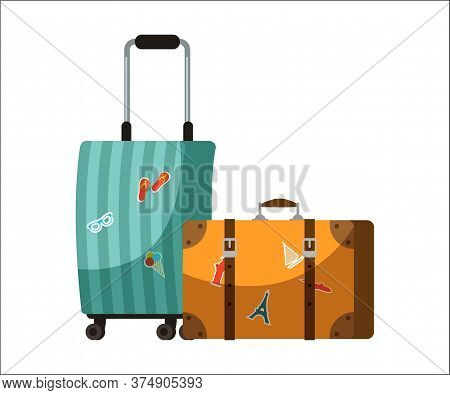 Travel Baggage Suitcases Isolated On White Background. Old Vintage Leather Briefcases With Sightseei