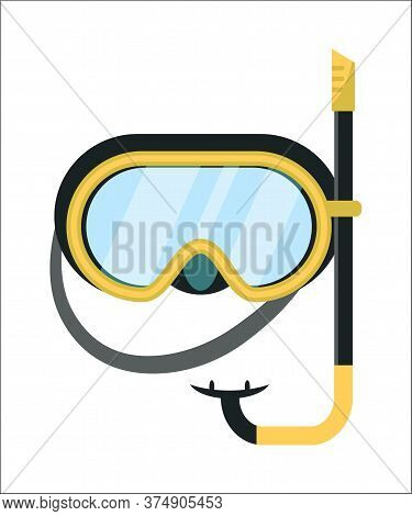 Facial Scuba Mask And Snorkel For Diving Isolated On White Background. Equipment For Swimming. Summe