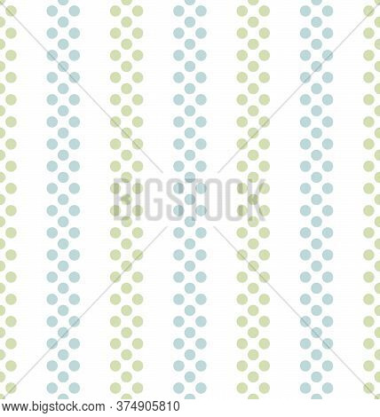 Blue And Green Seamless Vertical Striped Pattern On White Background, Vector Illustration. Seamless
