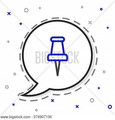 Line Push Pin Icon Isolated On White Background. Thumbtacks Sign. Colorful Outline Concept. Vector I