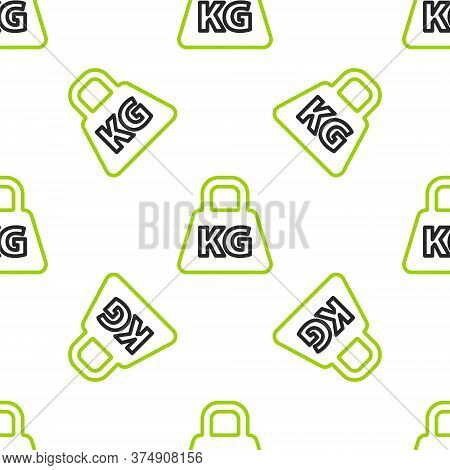 Line Weight Icon Isolated Seamless Pattern On White Background. Kilogram Weight Block For Weight Lif