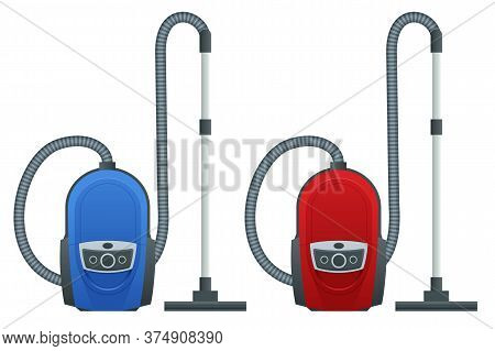 Isometric Vacuum Cleaner Isolated On White Background. Blue And Red Vacuum Cleaners. Cleaning Servic