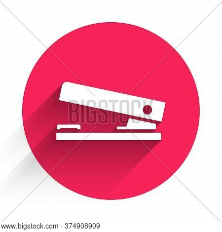 White Office Stapler Icon Isolated With Long Shadow. Stapler, Staple, Paper, Cardboard, Office Equip