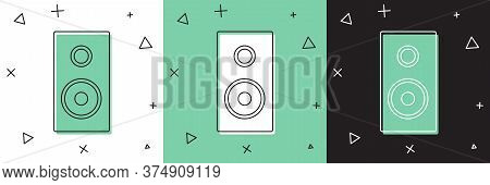 Set Stereo Speaker Icon Isolated On White And Green, Black Background. Sound System Speakers. Music