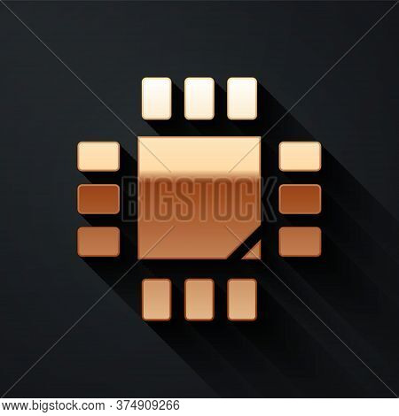 Gold Computer Processor With Microcircuits Cpu Icon Isolated On Black Background. Chip Or Cpu With C