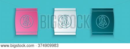 Paper Cut Hard Bread Chucks Crackers Icon Isolated On Blue Background. Paper Art Style. Vector Illus
