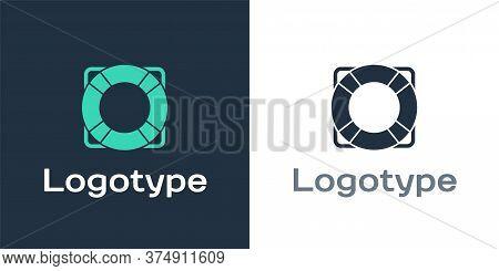 Logotype Lifebuoy Icon Isolated On White Background. Lifebelt Symbol. Logo Design Template Element.