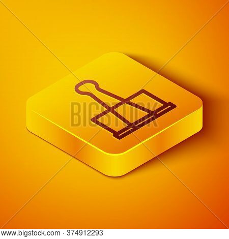 Isometric Line Binder Clip Icon Isolated On Orange Background. Paper Clip. Yellow Square Button. Vec