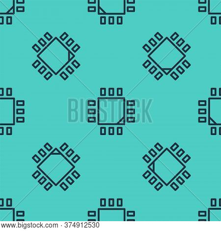 Black Line Computer Processor With Microcircuits Cpu Icon Isolated Seamless Pattern On Green Backgro