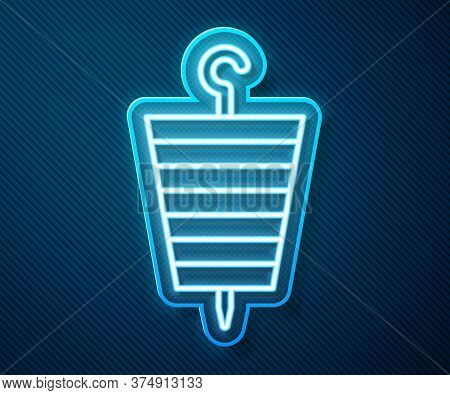 Glowing Neon Line Grilled Shish Kebab On Skewer Stick Icon Isolated On Blue Background. Meat Kebab O