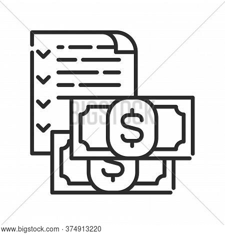 Budget Black Line Icon. Report And Financial Statements. Bookkeeping And Accounting. Pictogram For W