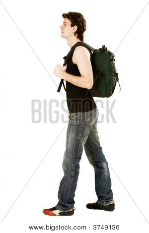 Man With Green Rucksack