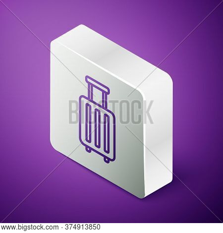 Isometric Line Suitcase For Travel Icon Isolated On Purple Background. Traveling Baggage Sign. Trave