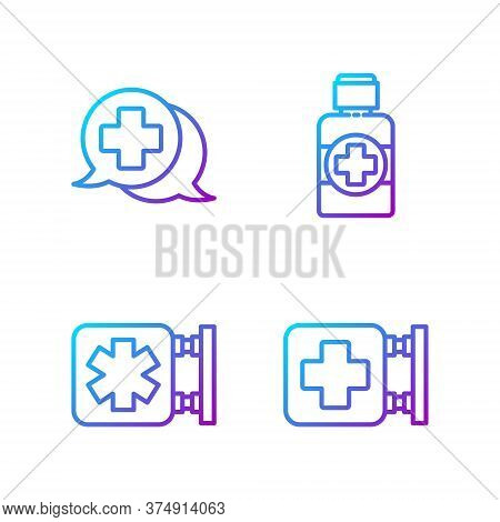 Set Line Hospital Signboard, Medical Symbol Of The Emergency, Dialogue With The Doctor And Bottle Of