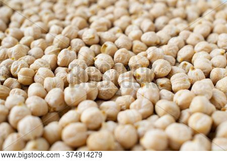 Chickpeas Background. Close Up Photo. Chickpeas Texture.