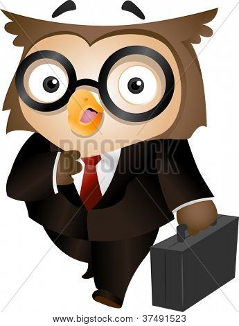 Illustration of an Owl Carrying a Briefcase