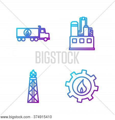 Set Line Oil Industrial Factory Building, Oil Rig With Fire, Tanker Truck And Oil Industrial Factory