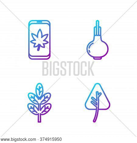 Set Line Leaf Or Leaves, Leaf Or Leaves, Leaf On Mobile Phone And Onion. Gradient Color Icons. Vecto