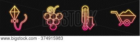 Set Line Meteorology Thermometer, Kite, Grape Fruit And Wheelbarrow With Dirt. Glowing Neon Icon. Ve