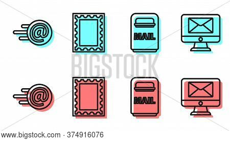 Set Line Mail Box, Mail And E-mail, Postal Stamp And Monitor And Envelope Icon. Vector