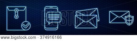 Set Line Envelope, Envelope And Check Mark, Chat Messages Notification On Phone, Envelope With Shiel