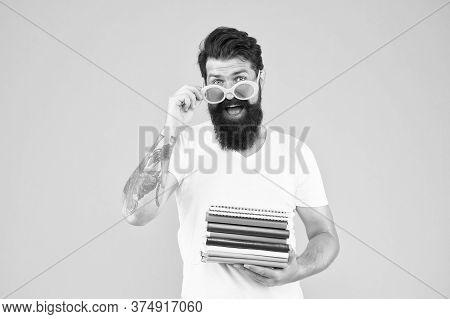 Got Back Into Teaching. School Teacher Hold Books. Bearded Man Teaching Literature. Pedagogical Tech
