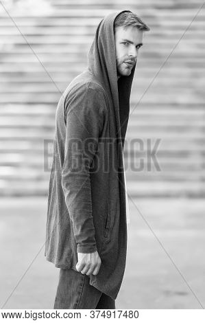 Hooligan Wear Hoodie. Looking Like Thief In Hooded Cardigan. Casual Style. Concept Of Danger And Con
