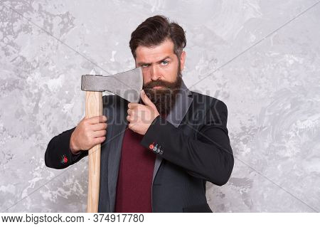 Easy Way To Style His Moustache. Brutal Hipster Hold Axe. Bearded Man With Stylish Moustache. Mousta