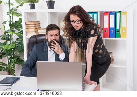 Corporate Strategy. Legal Adviser. Office Secretary. Business Couple Working. Couple In Office. Man