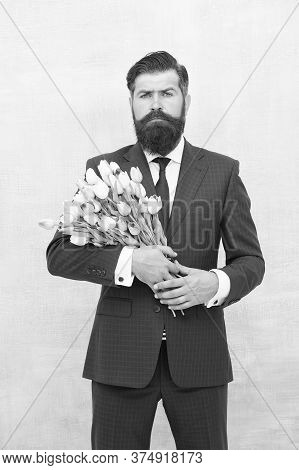 Bearded Man With Tulip Bouquet. Love Date. Womens Day. March 8. Spring Gift. Bearded Man Hipster Wit